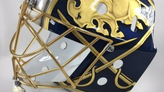 "Sabres goaltender Carter Hutton unveils new mask design for ""Golden Season"""