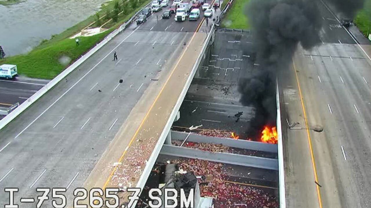 Man killed in fiery crash involving several vehicles on I-75 and