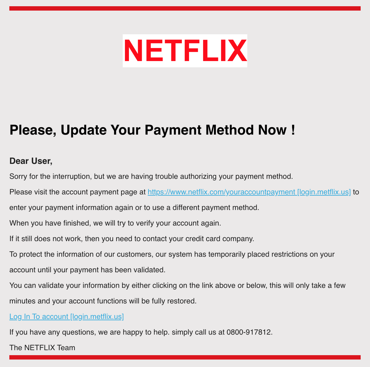 Police Warning Of Netflix Email Scam About Updating Payment Details
