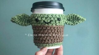 You Can Buy A Crocheted Baby Yoda Cup Sleeve To Keep Your Coffee Warm