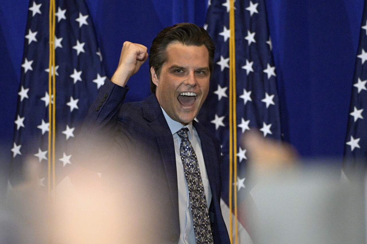 Matt Gaetz pumps fist during 'America First' rally in Villages, May 7, 2021