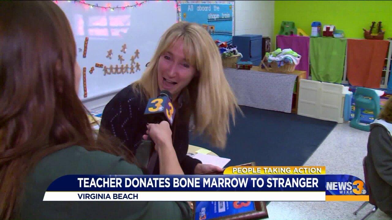 Virginia Beach teacher makes a life-saving donation to completestranger