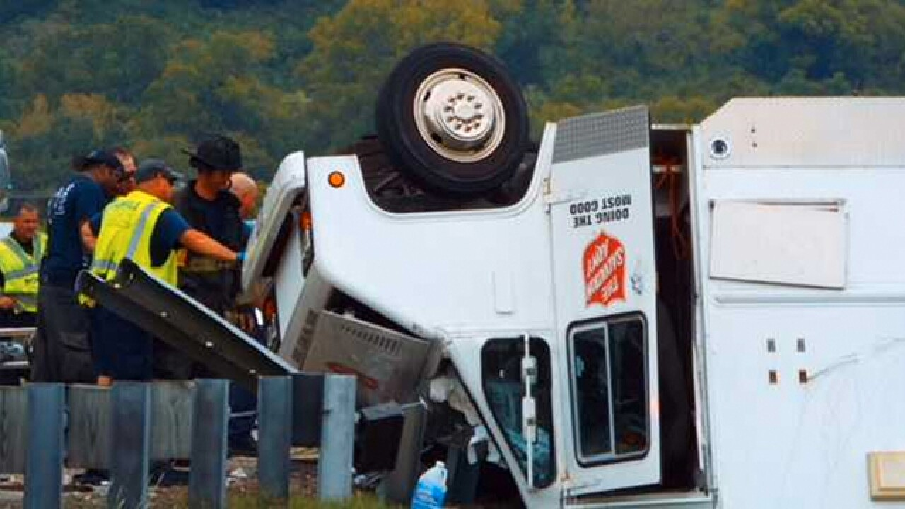 Salvation Army Truck Overturns In Nashville