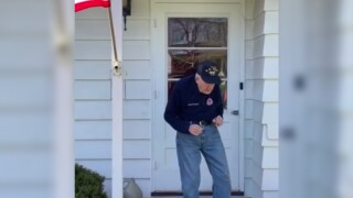 Video of WWII vet dancing on porch while social distancing brings joy during crisis