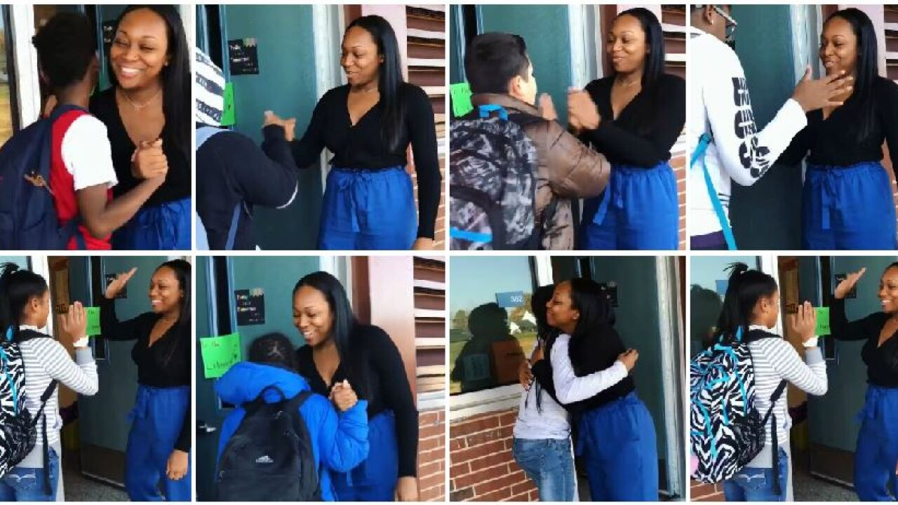 Henrico teacher greets each student with uniquehandshake