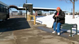 bus stop snow