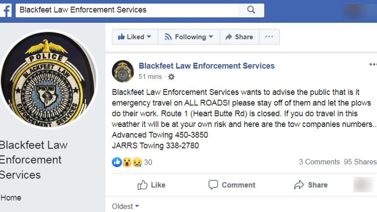 Travel warning issued in Glacier County due to snow