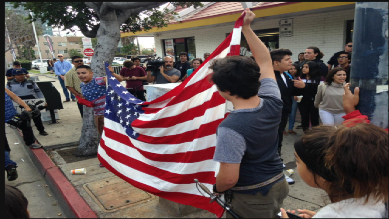 Trump protesters march in downtown San Diego