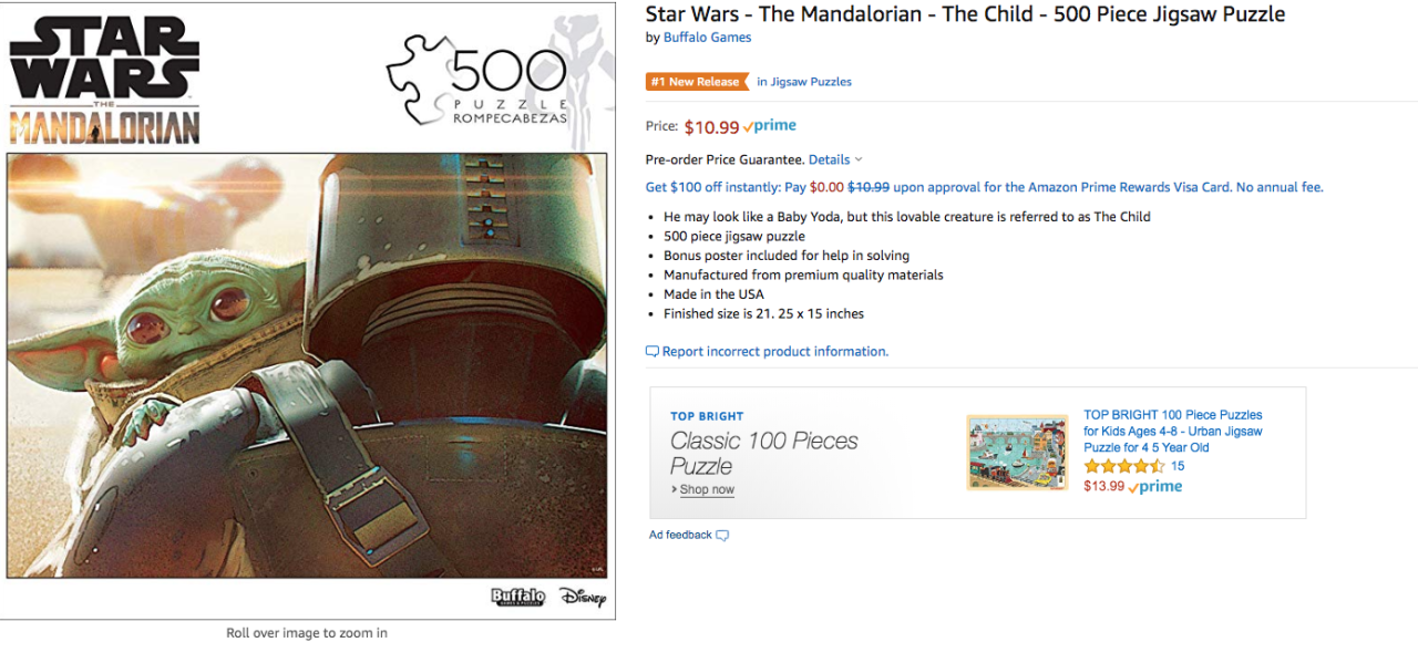The Child The Mandalorian jigsaw puzzle