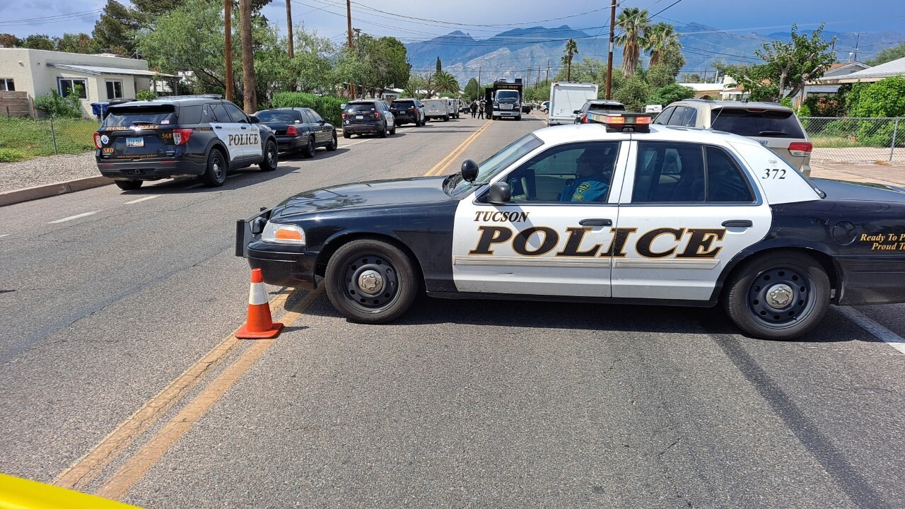 Tucson police negotiated with a barricaded domestic violence suspect Monday.