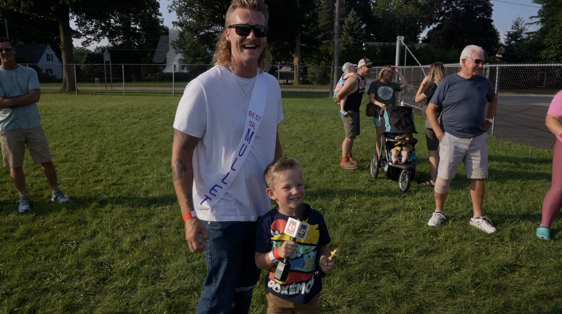 Trevor Young, best senior mullet, and his son, Lincoln
