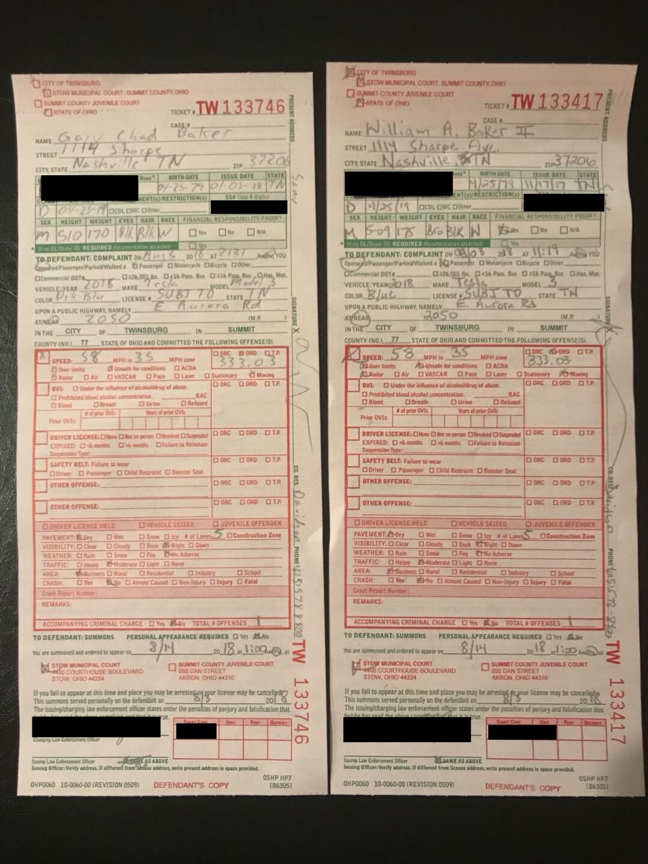 Twins' traffic ticket