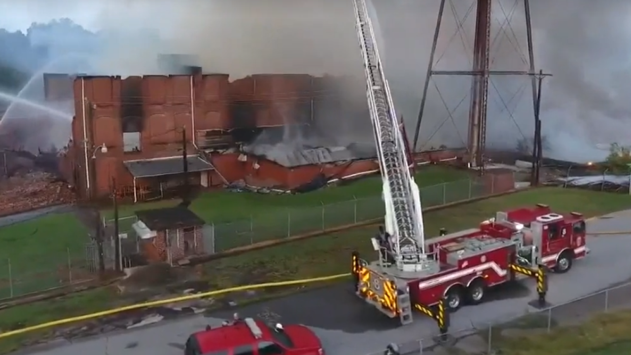 Crews battle large warehouse fire in North Carolina