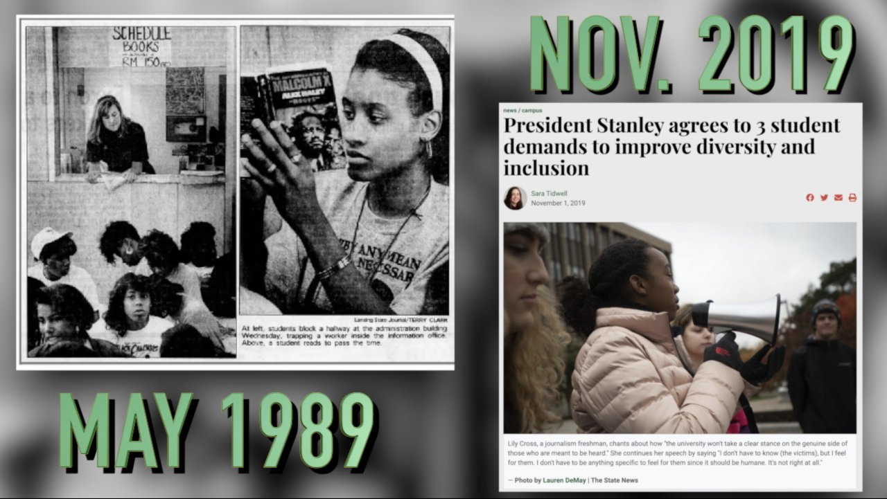 MSU student led sit-ins 1989 to