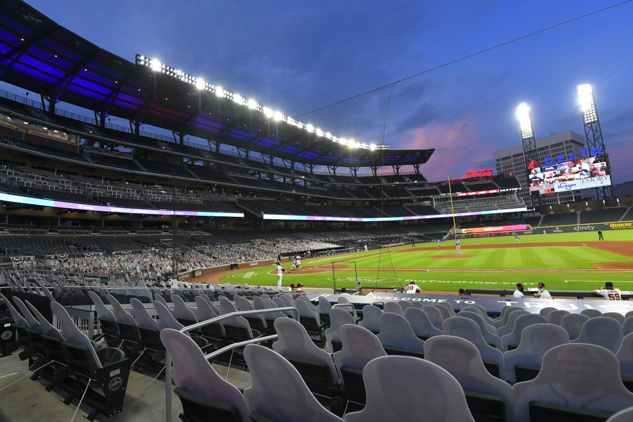 Empty stadium for Atlanta Braves game in July 2020