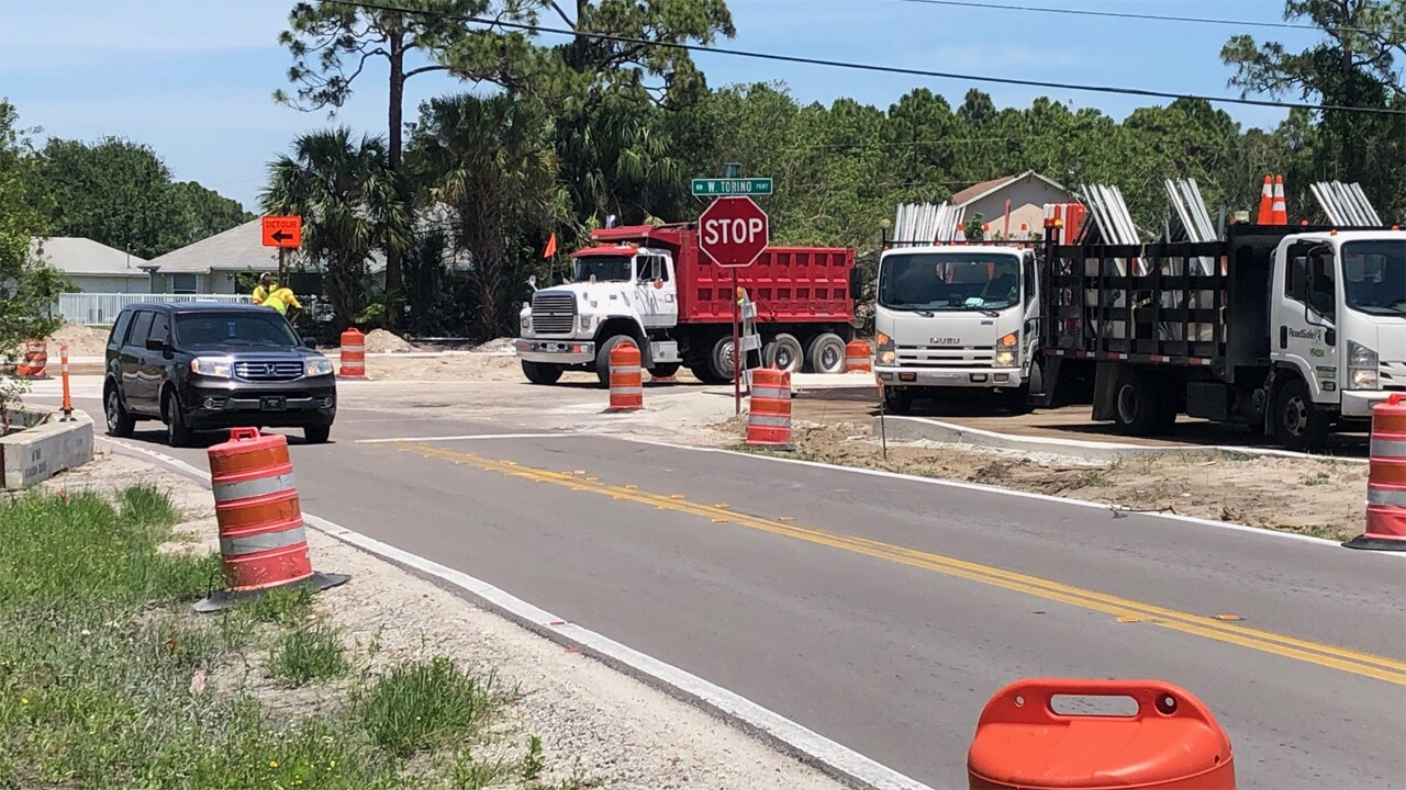 Torino Parkway roundabout construction on April 22, 2020.
