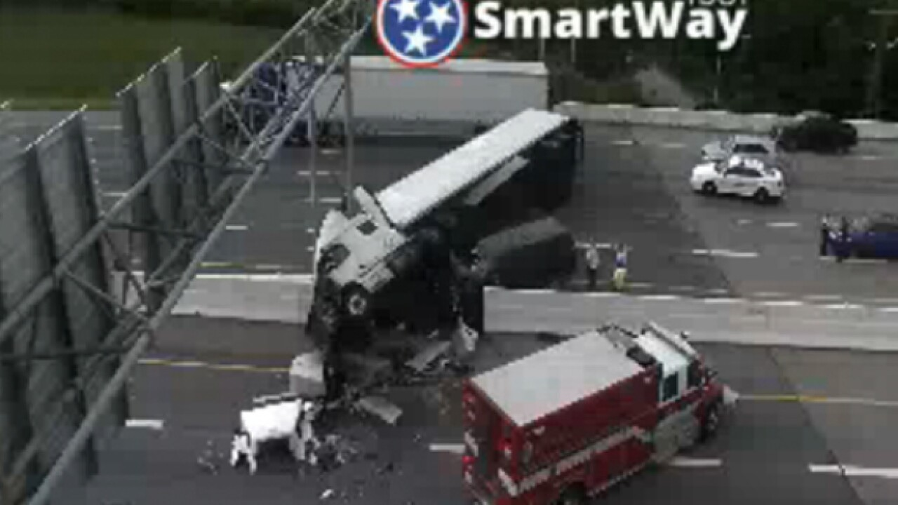 Semi Crashes Through Median On I-40 In Nashville