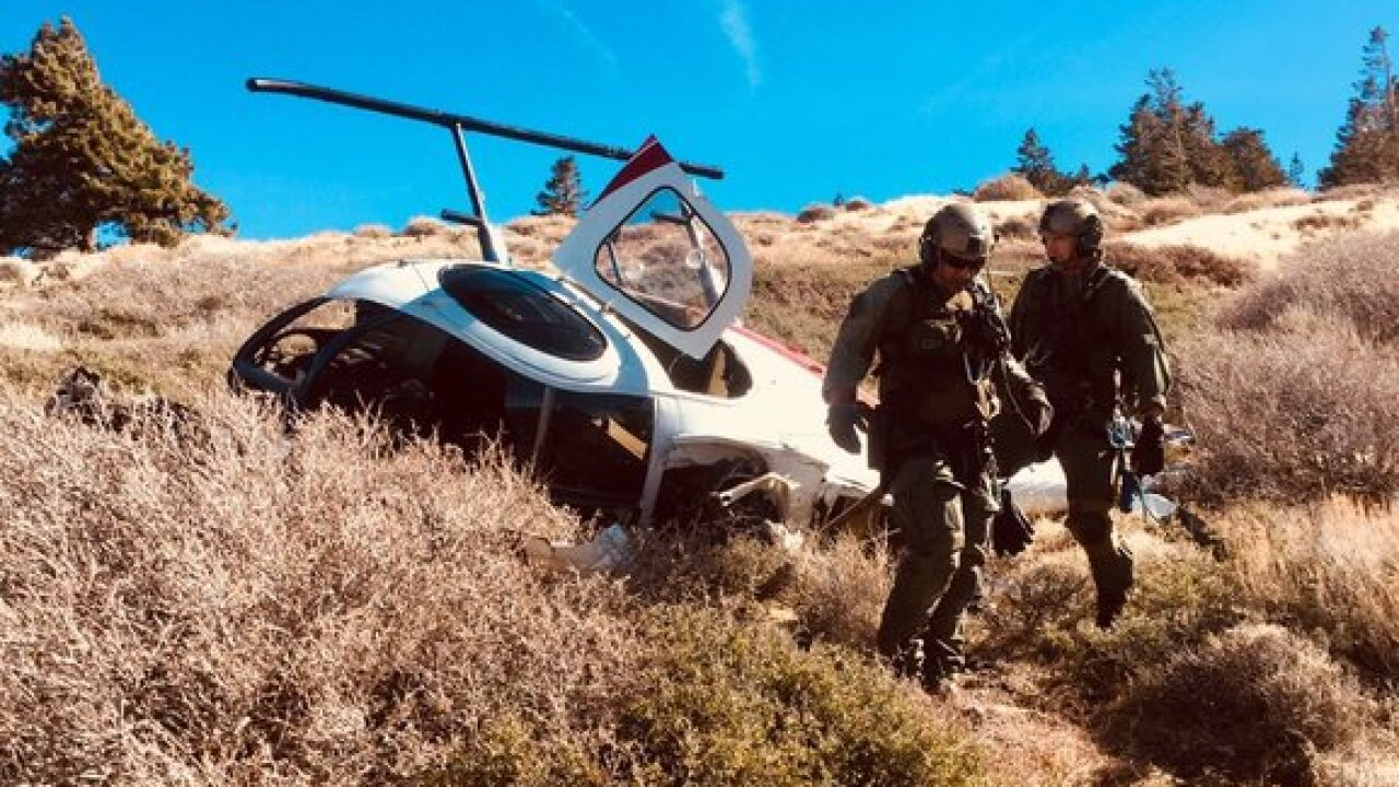Three hurt in helicopter crash in Angeles Forest
