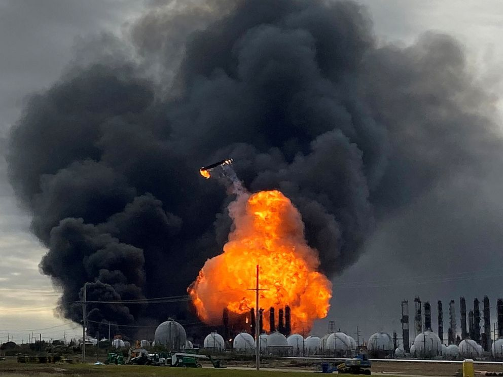 A process tower flies through air after exploding at the TPC Group Petrochemical Plant, after an earlier massive explosion sparked a blaze at the plant in Port Neches, Texas, Nov. 27, 2019. Erwin Seba/Reuters