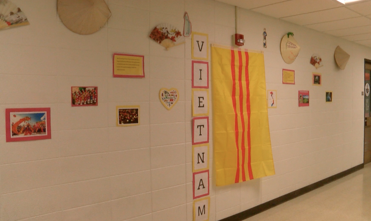 Wall decorated for AAPI Heritage month