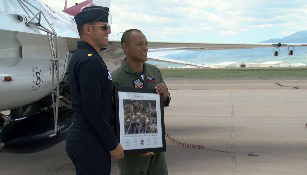 Olympic Gold Medalist Bryan Clay gets to fly with the Air Force Thunderbirds