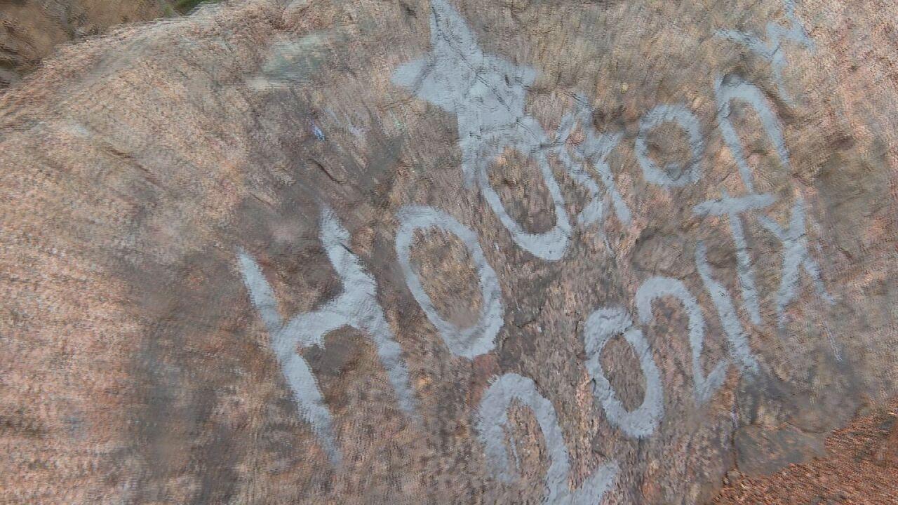 graffiti along lower Gold Camp Road