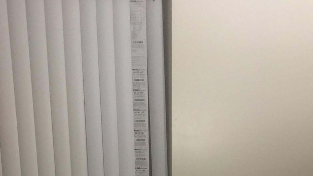 What to do with an excessively long CVS receipt? Use it as a replacement window blind, Ohio man says