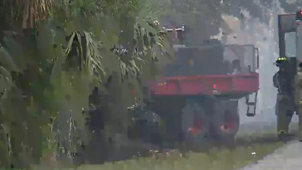 Brush fire threatening structures in Punta Gorda