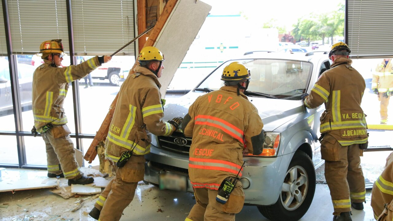 Four hospitalized after vehicle crashes into City Treasurer's Office in VirginiaBeach