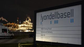 This Tuesday, July 27, 2021 photo shows the entrance of the LyondellBasell facility in La Porte, Texas. An explosion Tuesday evening killed two people at the facility and left several others injured.JPG