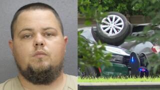 Daniel Chamblin arrest photo next to Cooper City crash that killed Tyrone White