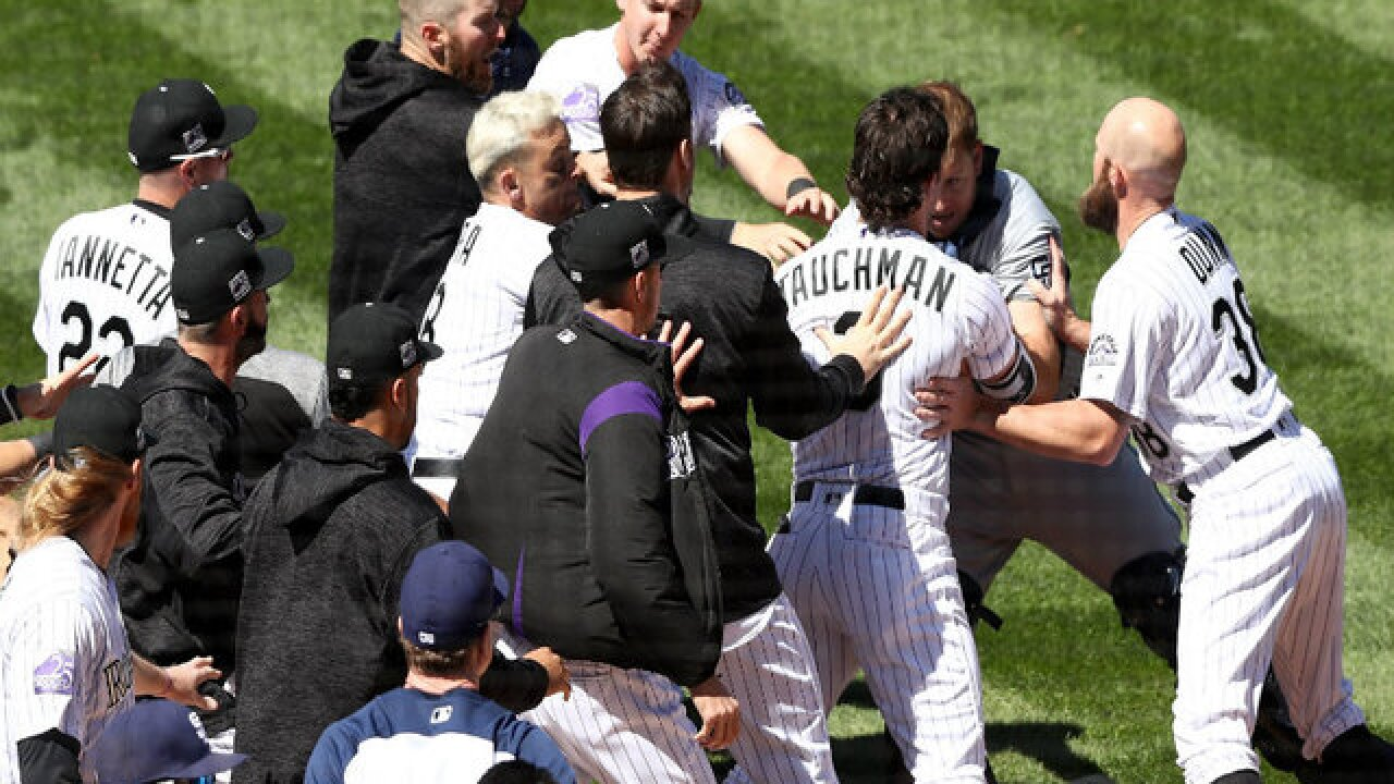 Base-brawl: Benches clear in Padres-Rockies game after Padres pitcher nearly hits batter