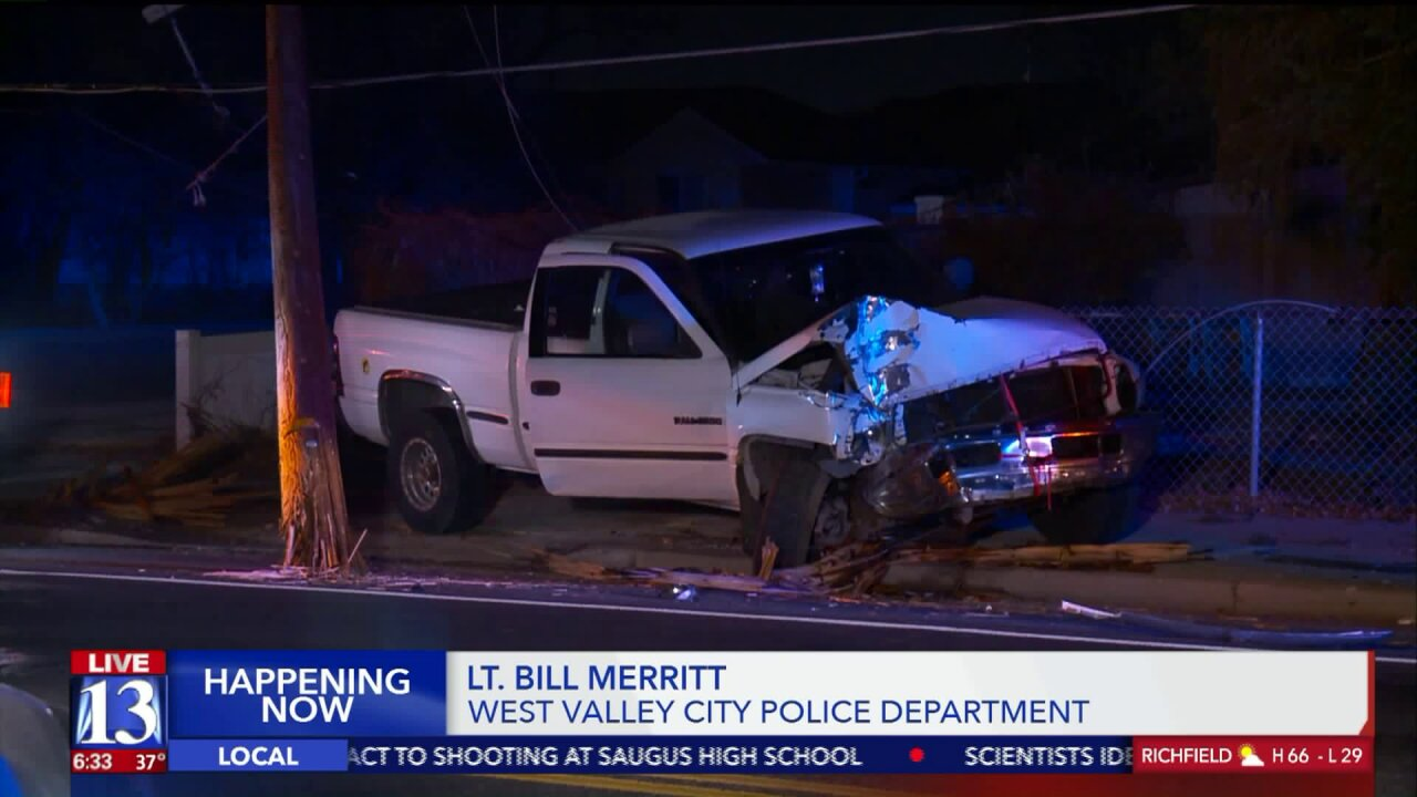 Woman arrested after crashing truck into power pole, trying to hide in nearbytree