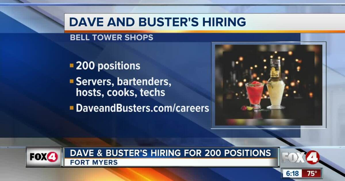 Dave & Buster's hiring for more than 200 Positions in Fort Myers