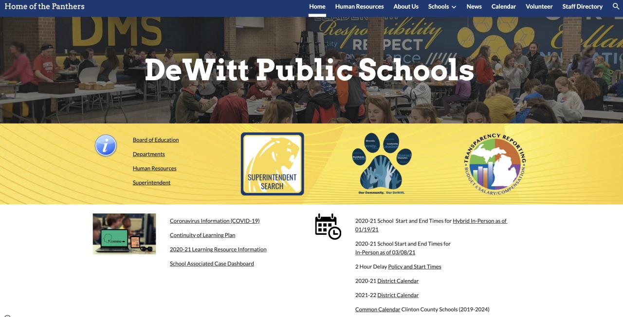 DeWitt Public Schools Website
