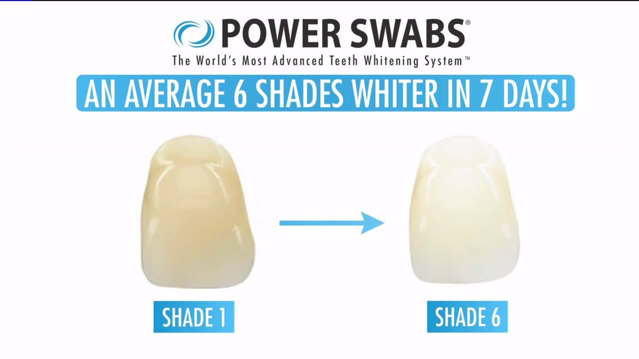 Whiten teeth in 5 minutes with PowerSwabs