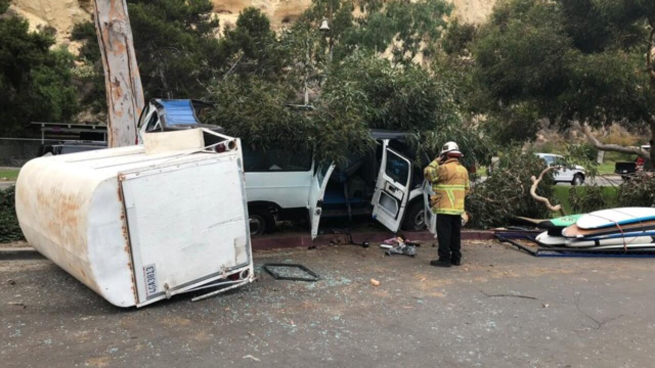 Nine children hurt in Dana Point van crash