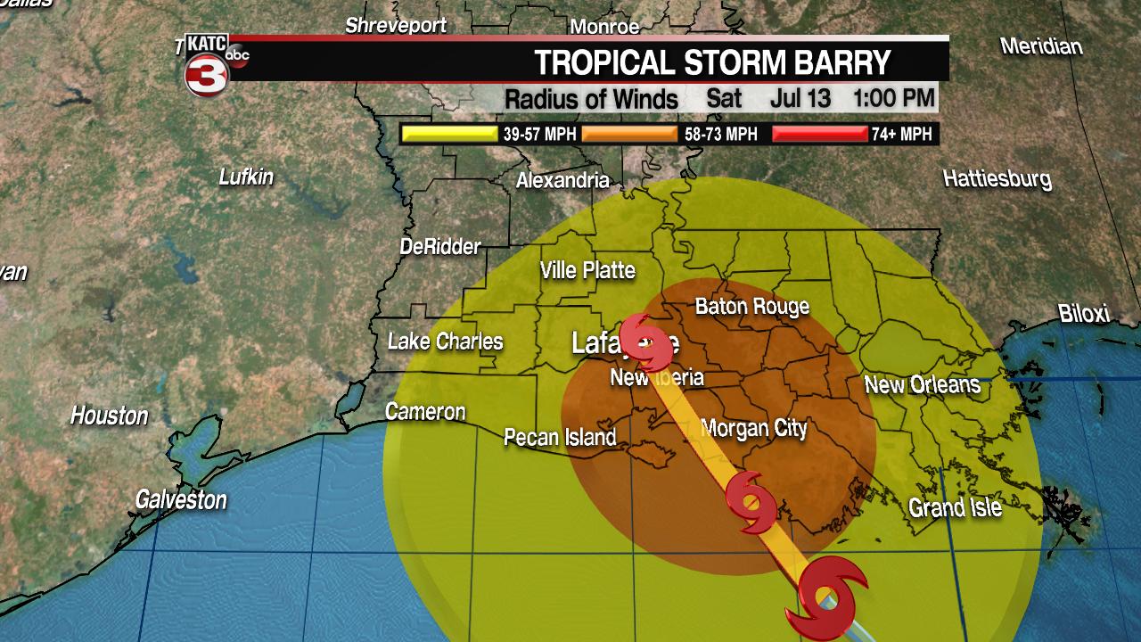 The latest as Barry nears the Louisiana coast