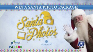 "Announcement photo for the Santa Photo Giveaway contest, reading, ""WIN A SANTA PHOTO PACKAGE!"" and featuring Santa Claus with holiday lights and logos from KRIS 6 News, La Palmera Mall and the Harbor Lights Illuminated Night Parade."