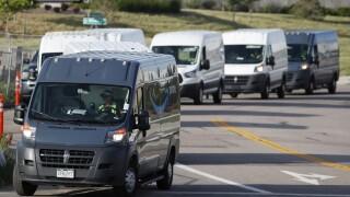 Amazon delivery vehicles, r m