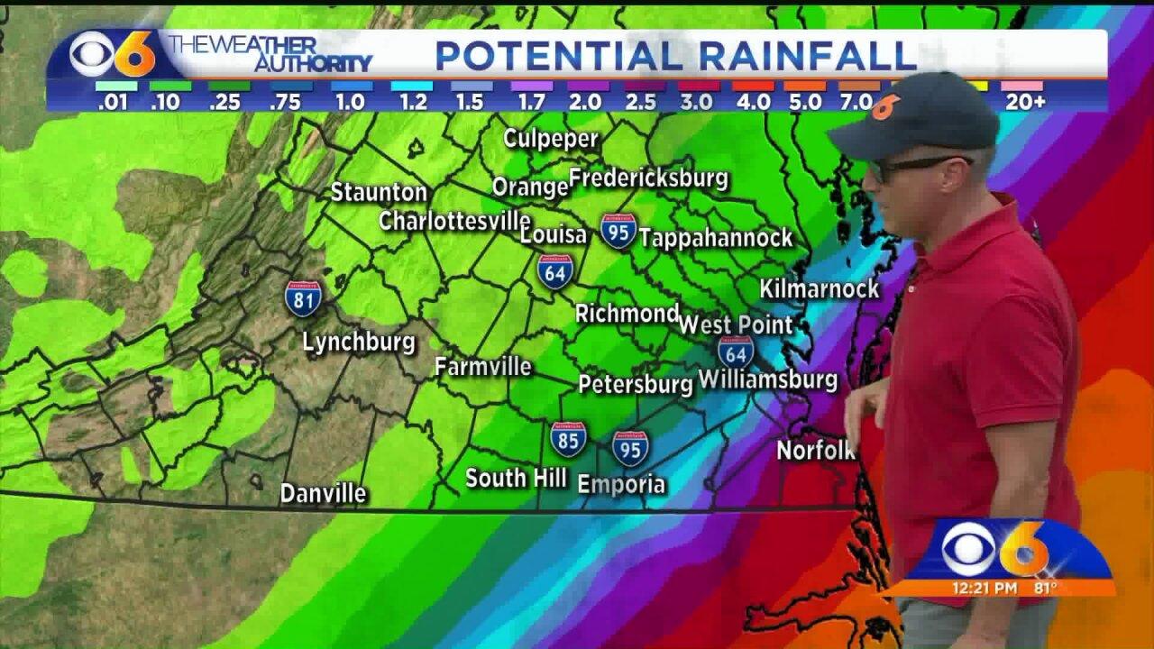 Hurricane Dorian's East Coast swing could bring rain toVirginia