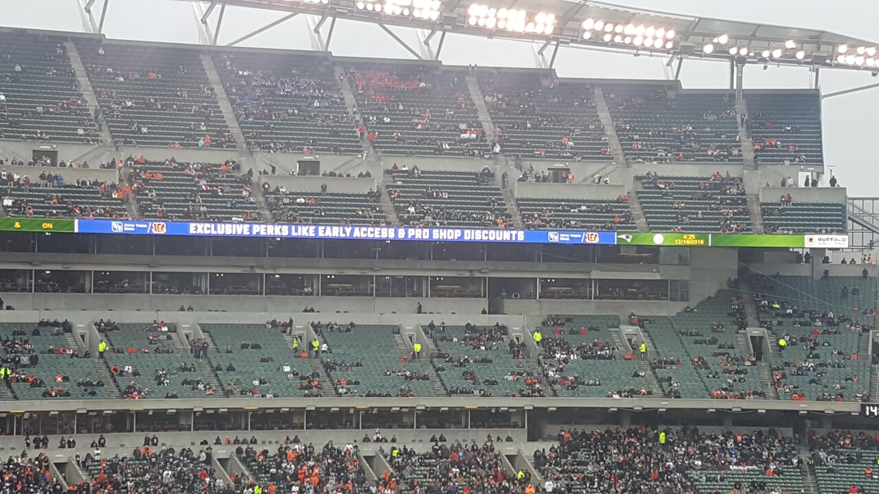 Empty seats at Paul Brown Stadium for final Bengals home game of 2018.