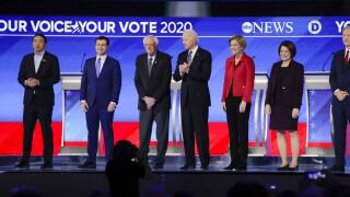 Andrew Yang, Pete Buttigieg, Bernie Sanders, Joe Biden, Elizabeth Warren, Amy Klobuchar, Tom Steyer