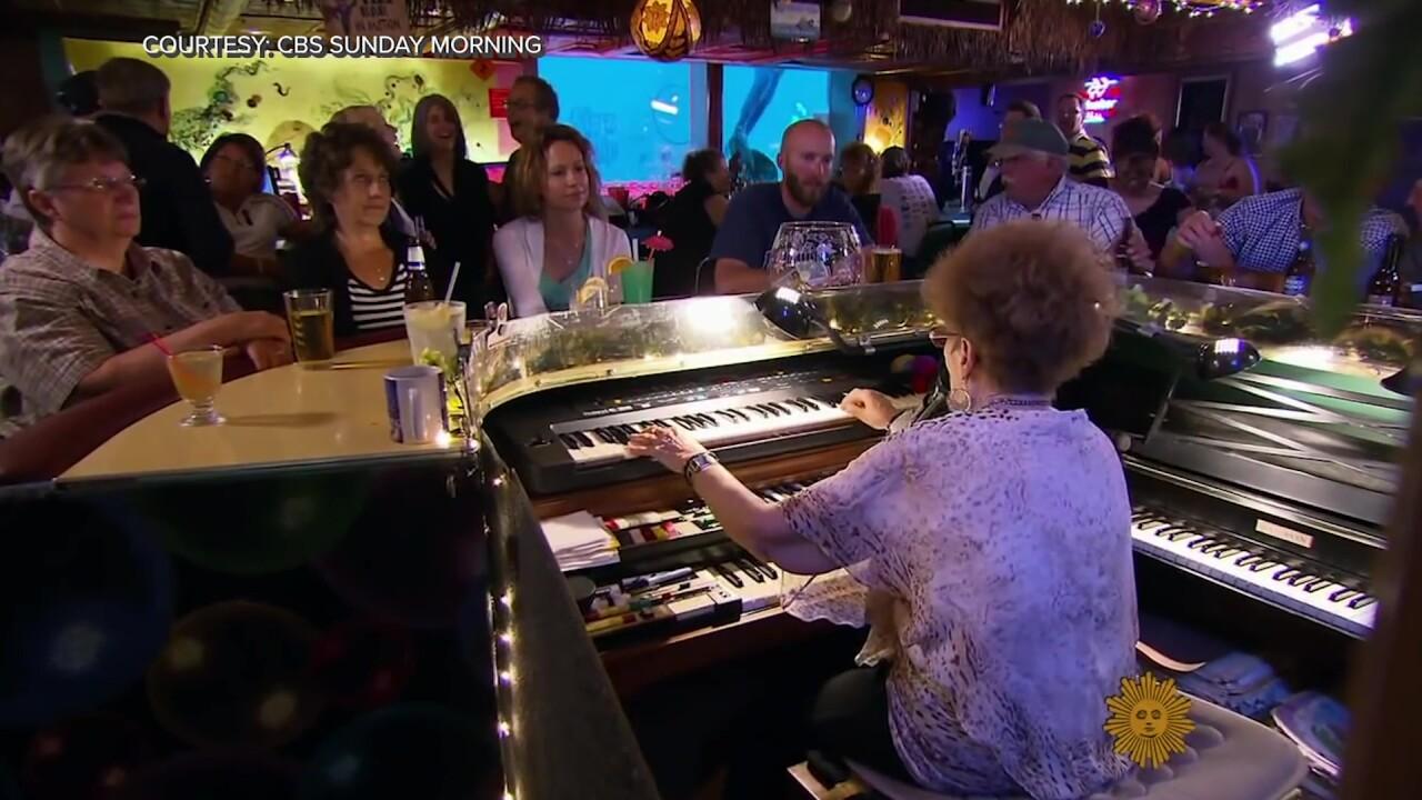 """""""Piano Pat"""" Spoonheim performing at the Sip 'N Dip Lounge in Great Falls, Montana"""