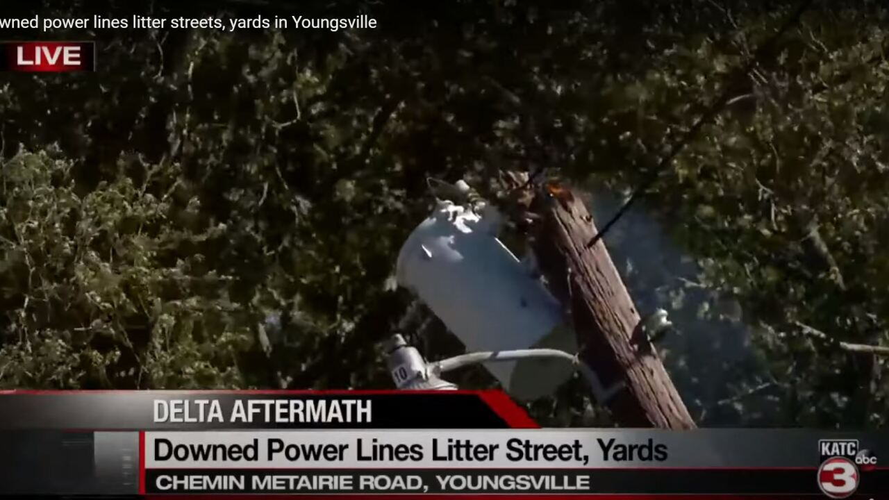 Downed power lines litter streets, yards in Youngsville.JPG