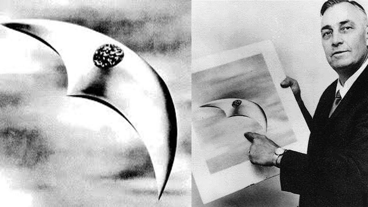 ภาพยานรูปทรงจันทร์เสี้ยวตามคำกล่าวอ้างพบเห็น UFO ของ Kenneth Arnold