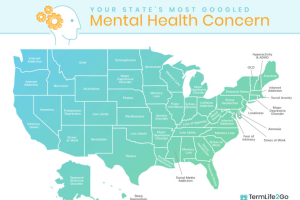 Most-searched mental health topics in U.S.