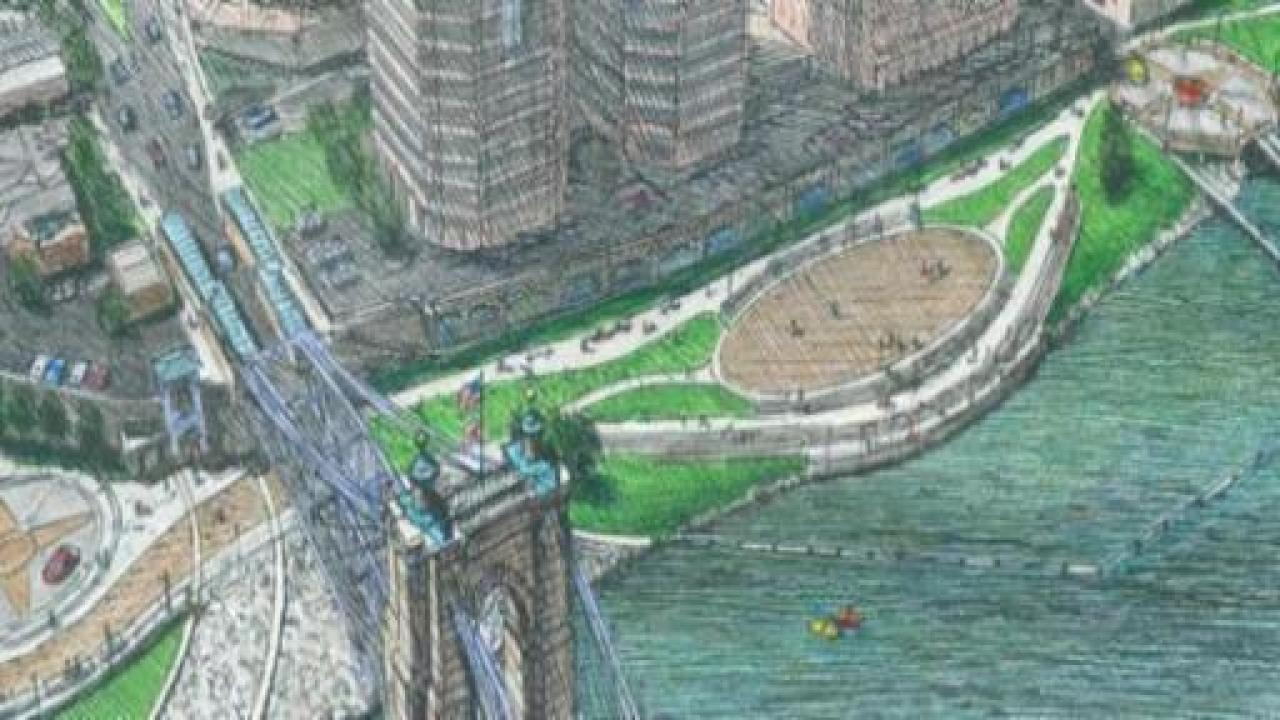 Riverfront commons rendering, Covington Landing