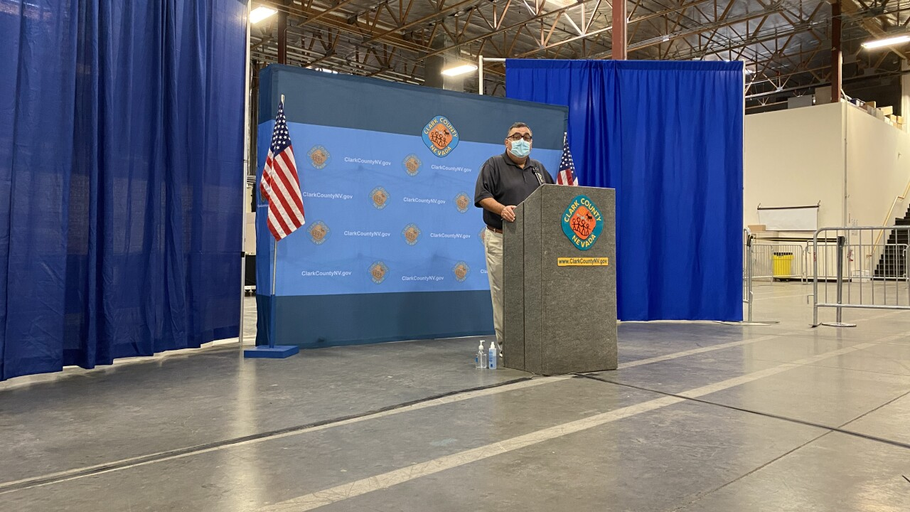 Clark County Registrar of Voters, Joe Gloria, provides an update on the ballot counting process during a news conference on Sunday, Nov. 8, 2020