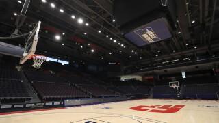 NCAA March Madness emblem at University of Dayton basketball arena